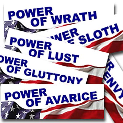 seven deadly sins bumper stickers